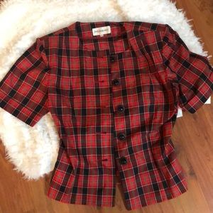 Vintage Yves Saint Laurent plaid cropped jacket